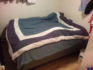 Queen size bed (box spring) , bedside table, desk, and printer.