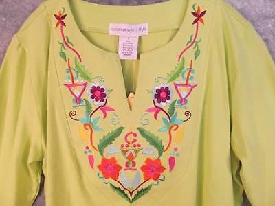 Green Cropped Pant Set (NWT Lime Green Tunic + Crop Pant Set S Sm Susan Graver Pockets 2-Pc Stretch New )