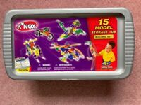 K'Nex 15 model storage tub plus K'Nex 10 model set plus K'Nex Copter set