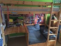Fantastic kids pine bed, desk, shelf plus pull out bed/lounge area & storage