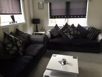 2 X DFS 4 SEATER SOFA BLACK AND GREY SUEDE