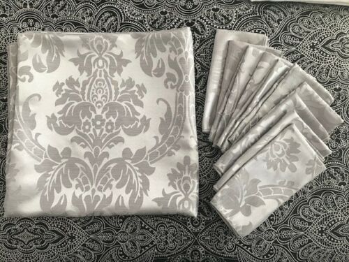 Tablecloth Rectangle Silver Damask And 10 Napkins