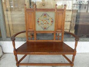Victorian-Antique-Arts-Crafts-Warings-Oak-Bench-1880s