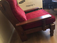 SOLID WOODEN ARMCHAIR, LITTLE USED, IN VERY GOOD CONDITION, REDUCED TO CLEAR