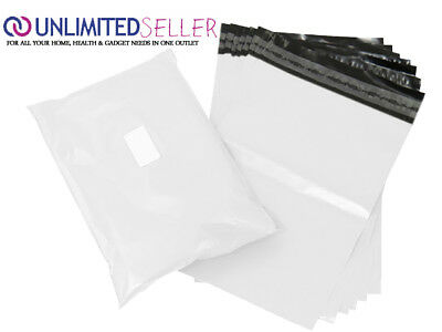 1000 LARGE WHITE BAGS OF 10x14 INCH STRONG POLY MAILING POSTAGE 55MU SELFSEAL XL
