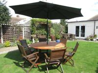 Hardwood Garden table and chairs plus very large parasol GOOD CONDITION