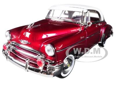 18 White Diecast Car - 1950 CHEVROLET BEL AIR BURGUNDY W/ WHITE ROOF 1/18 DIECAST CAR BY MOTORMAX 73111