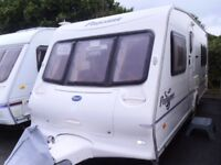 2004 Bailey Pageant Bordeaux 4 Berth FIXED BED Inc an awning.