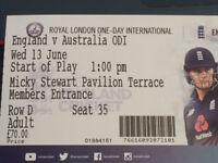 2x England V Australia Tickets, The Oval, 13th June 2018