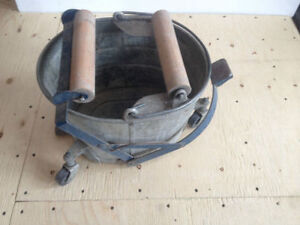 Antique foot controlled wringer mop bucket, 2 gal. Oil can.
