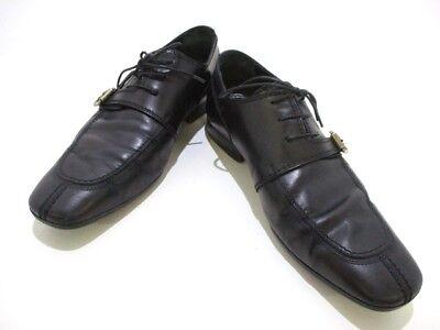 Auth LOUIS VUITTON Black Leather ST1006 Shoes Men