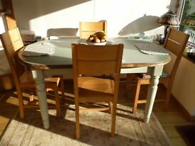 Ducal pine dining room table painted in Farrow and Ball