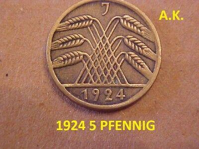 1924 - J - GERMAN 5 REICH PFENNIG COIN