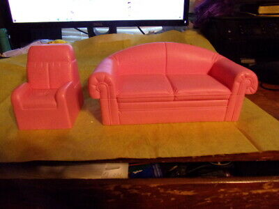 Vtg Mattel 1994 Barbie So Much To Do Pink Couch / Chair Doll House Furniture