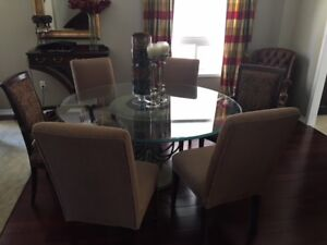 """Dining Set 60"""" Round Beveled Glass Table with 6 Chairs"""
