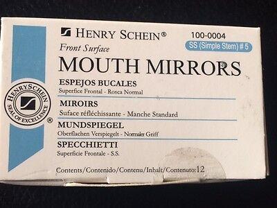 - Dental  Mouth Mirror front surface simple stem Henry Schein #5  12/Box ,  Miltex