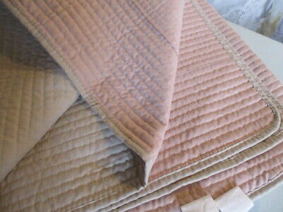 "Vintage French Boutis Quilt.Sofa Throw Plain pink plain taupe 69"" x 96"" washable"