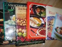 10 various large cookbooks - cakes dinners entertaining vegetarian