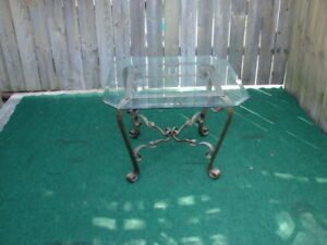 "Decorative Wrought iron /Glass Table size 29"" x 29"" x 21""H heavy"