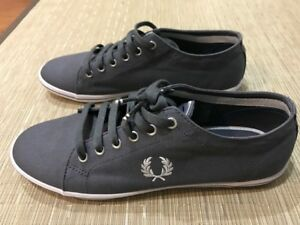 FRED PERRY Mens Charcoal KINGSTON TWILL Canvas Sneakers sz 10