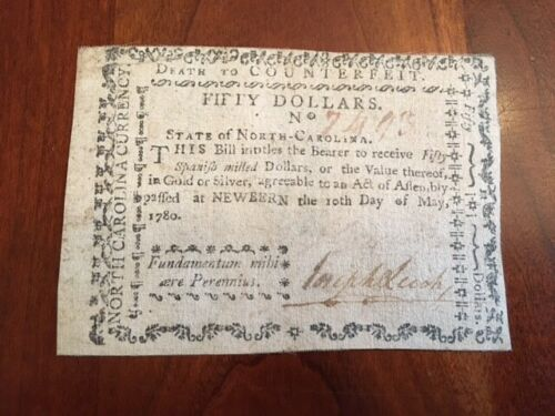RARE $50 Colonial Currency North Carolina May 10, 1780, New Bern NC, James Davis