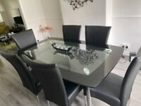 double glass dining table & 6 chair