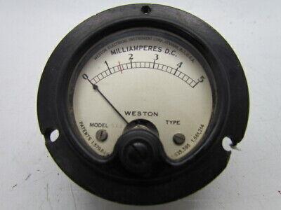 Vintage Weston Milliamperes Dc Panel Meter No. 506 Range 0-5 Ham Radio