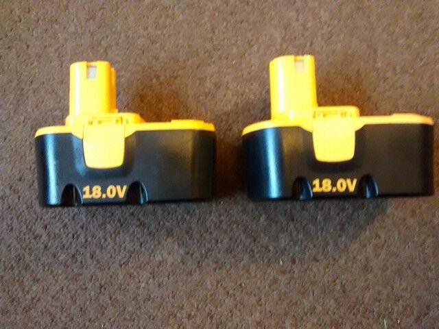 2 x Ryobi 18v Ni-cad Batteries BPP 1815 Spares or Repair very little use