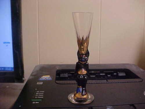 "Orrefors Crystal NOBEL Black Devil 6 3/8"" Schnapps Glass New MINT"