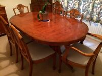 Oval D Table & 8 Chairs Veneer Wood Yew Finish