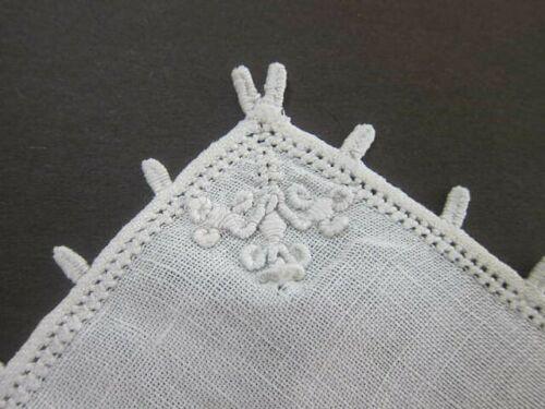 "(6) Antique Off White Italian Linen LEFKARA Embroidery Coasters 5.5"" X 5.5"""