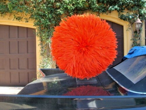 "30"" / Tangerine / African Feather Headress  / Juju Hat / fine Quality"