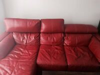 Great Condition Corner Red DFS Leather Sofa with Ottoman
