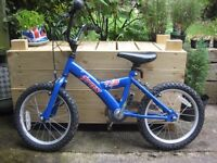 "Blue child's bike 16"" wheels"