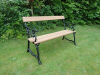 Two seater Victorian Cast Iron / Mahogany Bench
