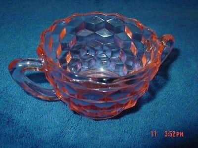 Vintage,Jeanette,Cube,Cubist,Pink,Sugar Bowl,Glass