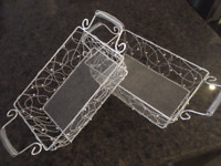 10 Rectangular Silver Baskets-Perfect for Wedding or Gifts $20