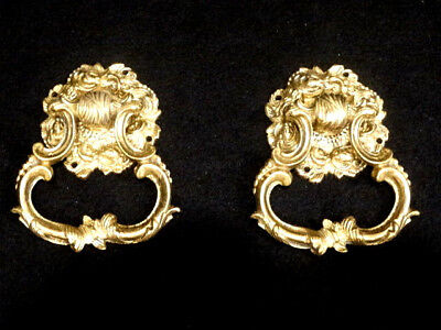 Antique Pair of Solid Brass Hollywood Regency Drawer Pulls, 5