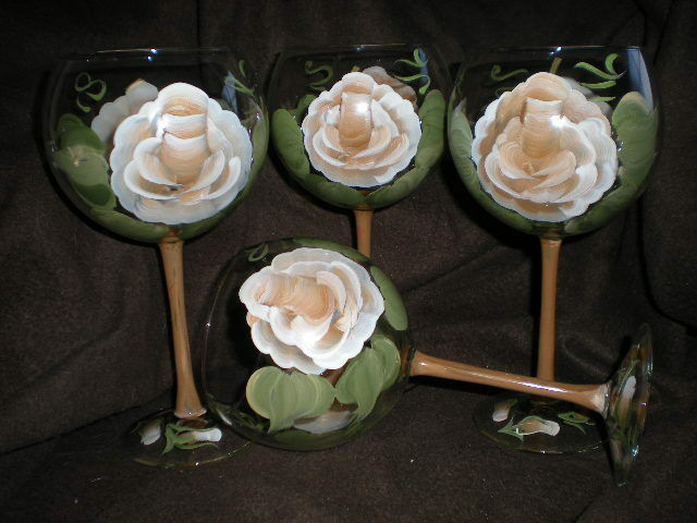 HAND PAINTED CHOCOLATE ROSE 19 OUNCE  BALLOON GOBLETS/ SET/4(MADE IN THE USA)