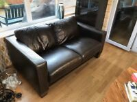 2 x 2-seater Italian leather sofas and 1 x footstool - great condition