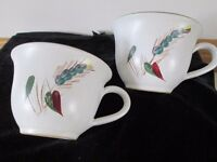 2 VINTAGE DENBY GREENWHEAT TEACUPS-MORE AVAILABLE-COLLECT OSSETT, WAKEFIELD.
