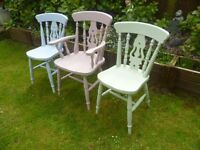 3 x Shabby Chic Chairs up-cycled in lovely pastel coloured chalk paint - will split