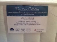 New Double bed mattress 4'6'' - Dreams Wakefield, pocket springs with memory foam top