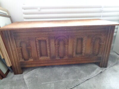 ANTIQUE  CHEST COFFER BLANKET BOX