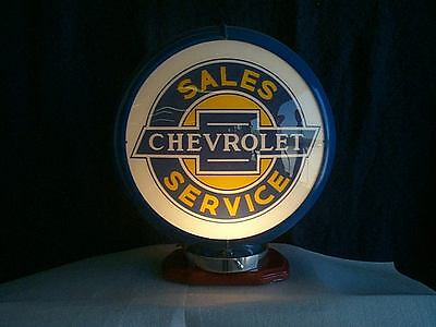 gas pump globe CHEVROLET reproduction 2 glass lens in a BLUE plastic body NEW