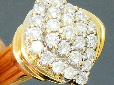18ct Gold  1.00ct Diamond Cluster Engagement Ring size N