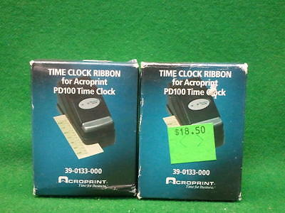 Qty 2 Time Clock Ribbons Acroprint Pd122 For Pd100 Timeclock 39-0133-000 New