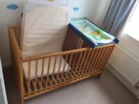 Cot bed + Mattress + Cot Top Changer