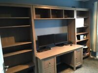 Two Ikea Hemnes Bookcases with matching bridging unit