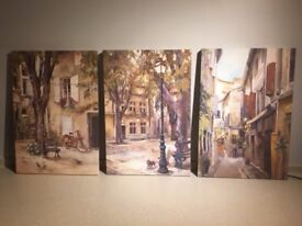Canvas paintings of French streets